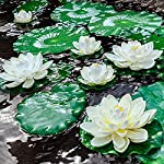 8pcs artificial lotus, floating foam lotus flowers with water lily pad, realistic water lily foam lotus flower for garden koi fish pond aquarium pool wedding decor