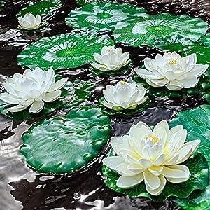 8pcs artificial lotus, floating foam lotus flowers with water lily pad, realistic water lily foam lotus flower for garden koi fish pond aquarium pool wedding decor silk flower arrangements