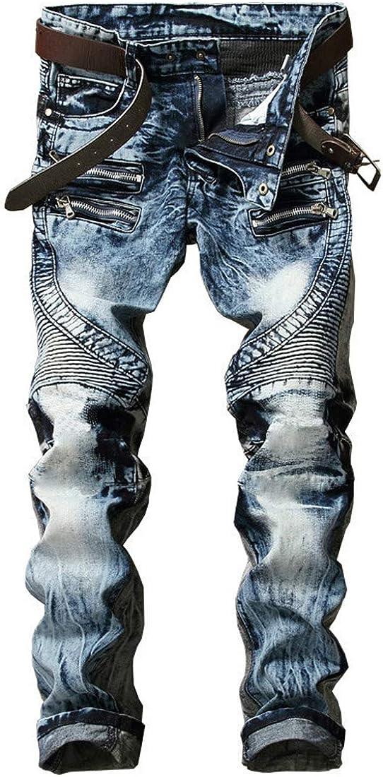 ONTTNO Men's Ripped Slim Straight Fit Biker Skinny Fit Denim Jeans with Zipper