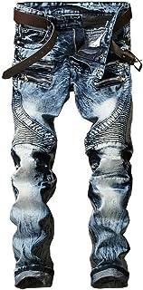 ONTTNO Men`s Ripped Slim Straight Fit Biker Skinny Fit Denim Jeans with Zipper