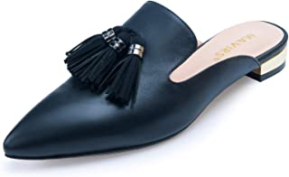 MAVIRS Suede Mules for Women, Women Tassels Pom Embellished Slipper Shoes, Pointed Toe Backless Slip on Loafers