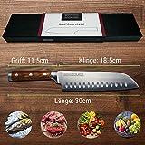 Zolmer® Profi Santokumesser aus deutschem Carbon Edelstahl und Pakkaholz - Rostfreies Sushi Messer mit Antihaftbeschichtung - Japanisches Küchenmesser - 6