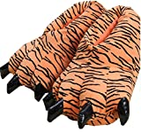 Peluche Peluche Unisex Pantofole Animal Costume Paw Claw Shoes (S (Dimensione Bambino: 28-34), Tiger)