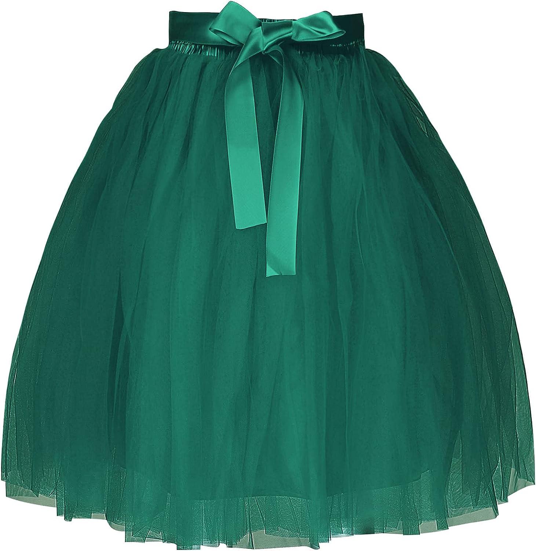 Haitryli Women's Layered Tulle A Line Skirt Wedding Birthday Party Elastic Fluffy Skirts with Sash
