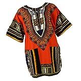 B Blesiya Camisa étnico Caftán Unisex Africanas Vestido Algodón Dashiki Adorno Tradicional Mujer Ropa Ligero - Naranja