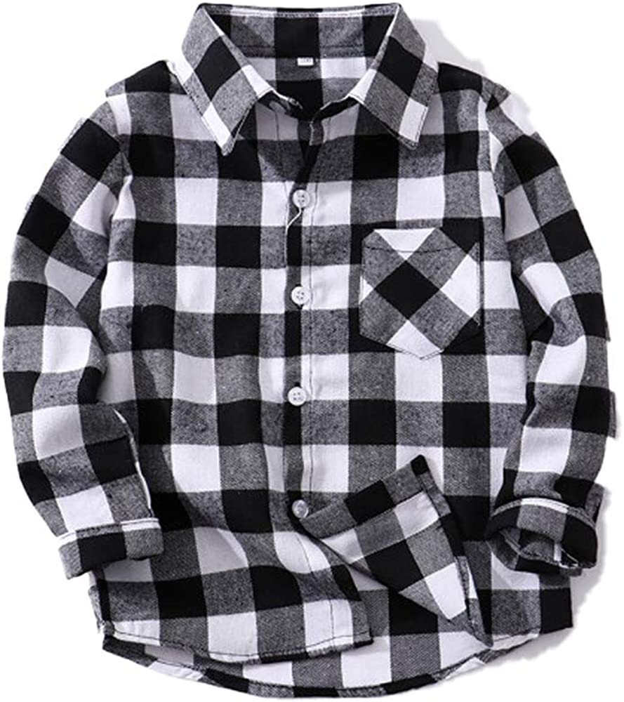 Toddler Baby Boy Girls Outfits Plaid Flannel Long Sleeve T-Shirt Tops Kid Clothes