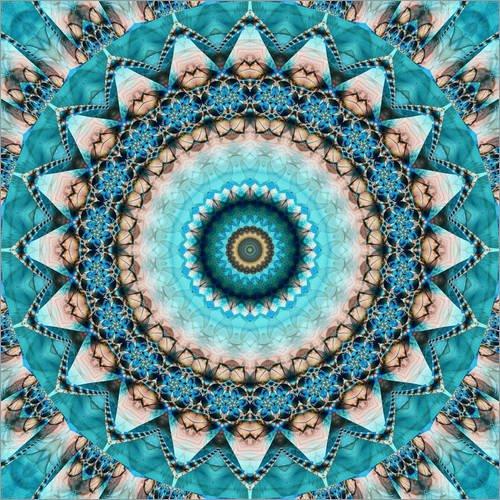 Posterlounge Acrylglasbild 20 x 20 cm: Mandala Edelstein türkis von Christine Bässler - Wandbild, Acryl Glasbild, Druck auf Acryl Glas Bild