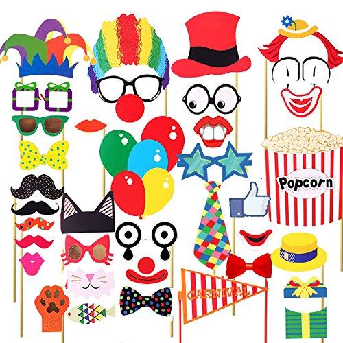 BESTOYARD Karneval Zirkus Photo Booth Requisiten Karneval Party Gefälligkeiten Accessoires zum Geburtstag 36 Pcs