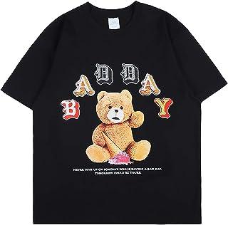 Arnodefrance Men's Short Sleeve Shirt Cotton Crew Neck Graphic Tshirt Bear Printing Bad Day Tees for Women