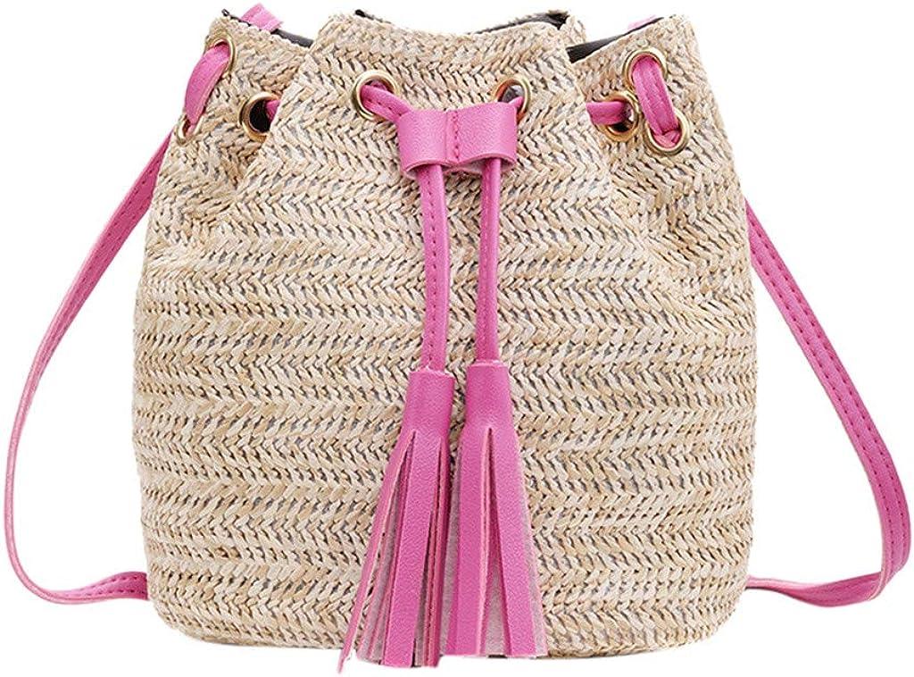 Women Teen Girls 2021 Fashion Tassel Straw Woven Bucket Messenger Bag Crossbody Shoulder Bag
