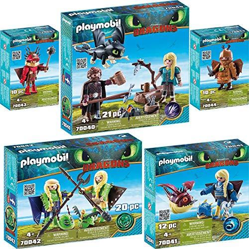 PLAYMOBIL® Dragons 5er Set 70040 70041 70042 70043 70044 Hicks und Astrid mit Babydrachen + Astrid mit Fluganzug + Raffnuss & Taffnuss + Rotzbakke + Fischbein