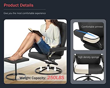 Chair and Ottoman Set Leather Chair with Ottoman Stressless Chair Ergonomic Swivel PU Leather Lounge Armchair Accent Chair fo