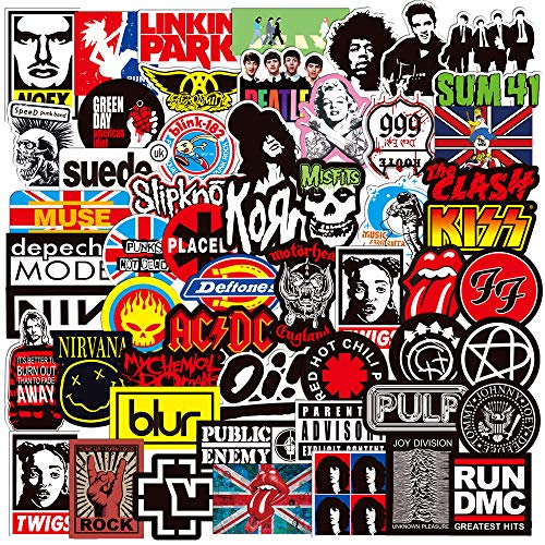 Band Stickers Pack,Music Laptop Stickers,Punk Rock N Roll Hip Hop Decal Sticker Pack,Waterproof Vinyl Stickers for Laptop Guitar Water Bottle Skateboard Car Bike(100pcs)