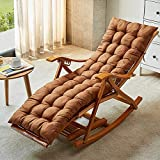 TopJiä Lounge Lounge Chairs Folding Rocking Chair,Bamboo Zero Gravity Chair Summer Cool Sun Lounger,Adjustable Recliner with Padded Brown Chair + Long Cushion