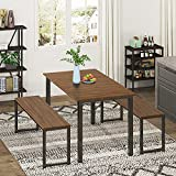 HOMURY Dining Room Table Set, Modern Studio Kitchen Table Set with Two Benches 3 Piece Breakfast Nook,Brown