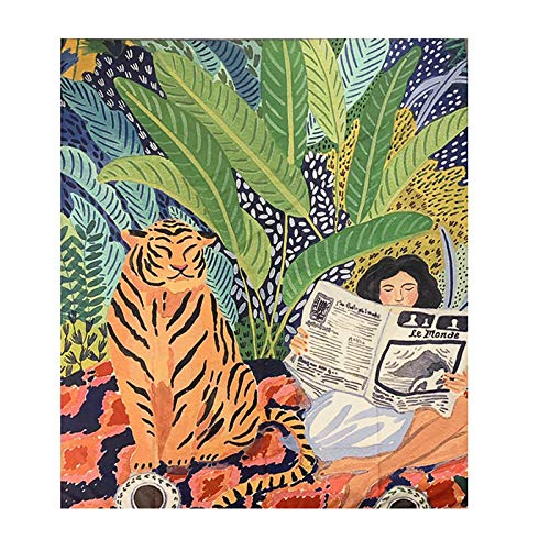 WYFCLHH Psychedelic Beautiful Girl Printed Art Tapestry Tiger Plant Bedroom Home Decoration Living Room Dormitory Tapestry-59.1_×_59.1_inches