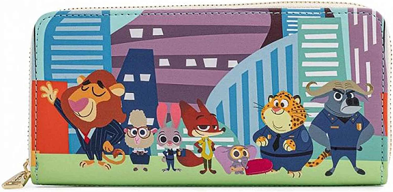 Loungefly Cheap mail order specialty store Super intense SALE Disney Zootopia Chibi Around Zip Wallet Group