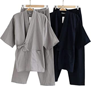[ライラ] 綿 素材 リラックス 作務衣 涼しい 上下 セット ルーム ウェア ネイビー グレー 甚平 M ~ L メンズ