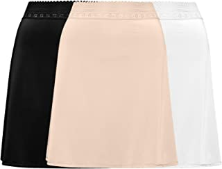 Free to Live 3-Pack Lace Trim Waist - Knee Length Half Slips for Women's Under Dress
