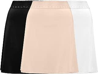 3-Pack Lace Trim Waist - Knee Length Half Slips for Women's Under Dress