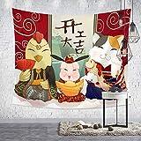 GenericBrands Tapiz de Estilo japonés Ukiyo-e Colgante de ParedDormitorio Fondo Tela Dragón Decoración del hogar para la Sala Yoga Picnic Mat