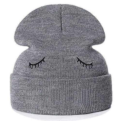 DABENXIONG Gorra De Invierno Sombrero Unisex Bordado Calavera Gorra Casual Invierno Invierno Sombrero De Punto Negro/Gris (Color : Gray)