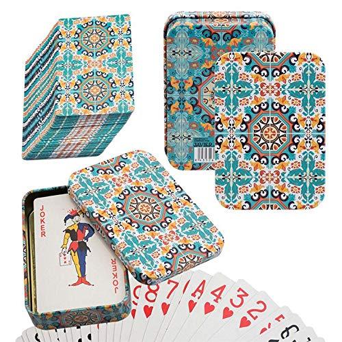 PracticDomus Set de 2 Barajas de Cartas de Póker en Estuche Metálico, Diseño de Giordano di Ponzano. Colección Vintage