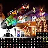 VOKSUN Proiettore Luci Natale, Halloween LED Lampada Impermeabile Luce Proiettore da Esterno e Interno con 4 colori 18 Motivi Proiettore con Telecomando, per Casa, Festa, Giardino Decorazione
