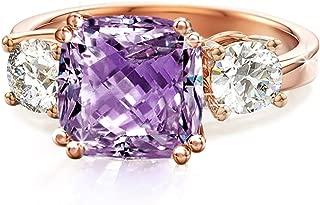 Meghan Markle CZ Engagement Rings Inspired by Royal Wedding: 3-Stone Cushion Cubic Zirconia & Simulated Gemstone Wedding Ring Set in 18K Yellow Gold, 18K Rose Gold & Rhodium Plating