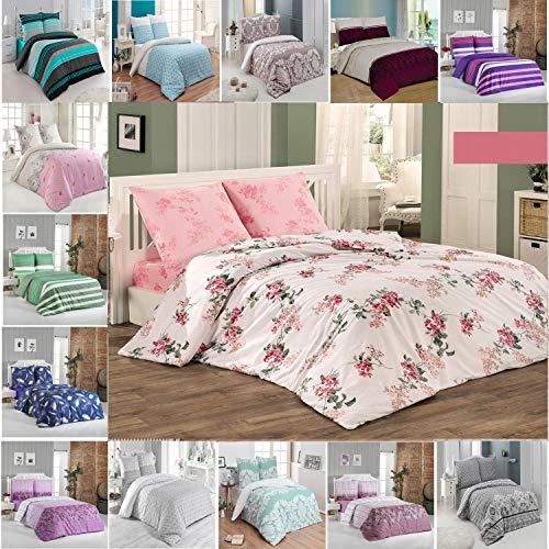 Buymax Bettwäsche-Set 3 Teilig, Renforce-Baumwolle, Reißverschluss, 200x220 cm, Rosa, Blumen