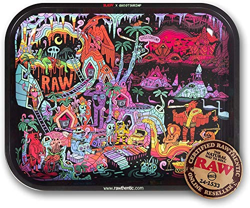 """RAW Artist Series: GHOST SHRIMP Metal Rolling Tray - Large 14"""" x 11"""""""