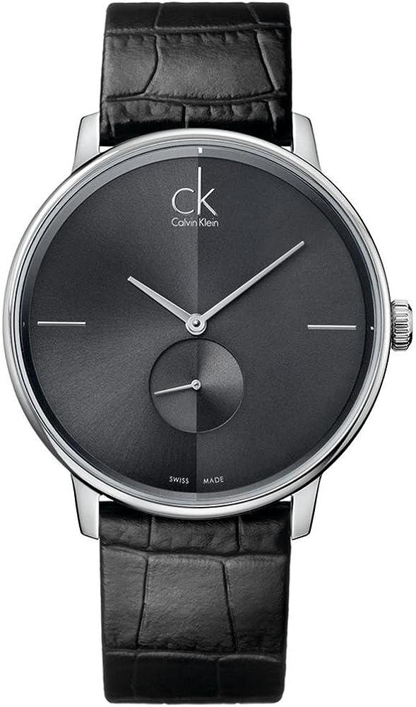 Calvin klein, orologio per uomo, analogico al quarzo, cassa in acciaio e cinturino in pelle K2Y211C3
