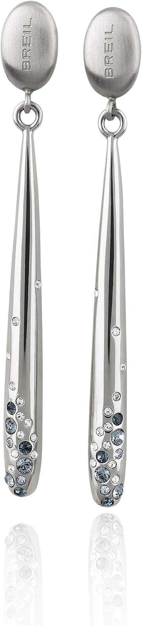 Breil orecchini da donna in acxciaio e pietre multiple in crystal jewellery TJ2648