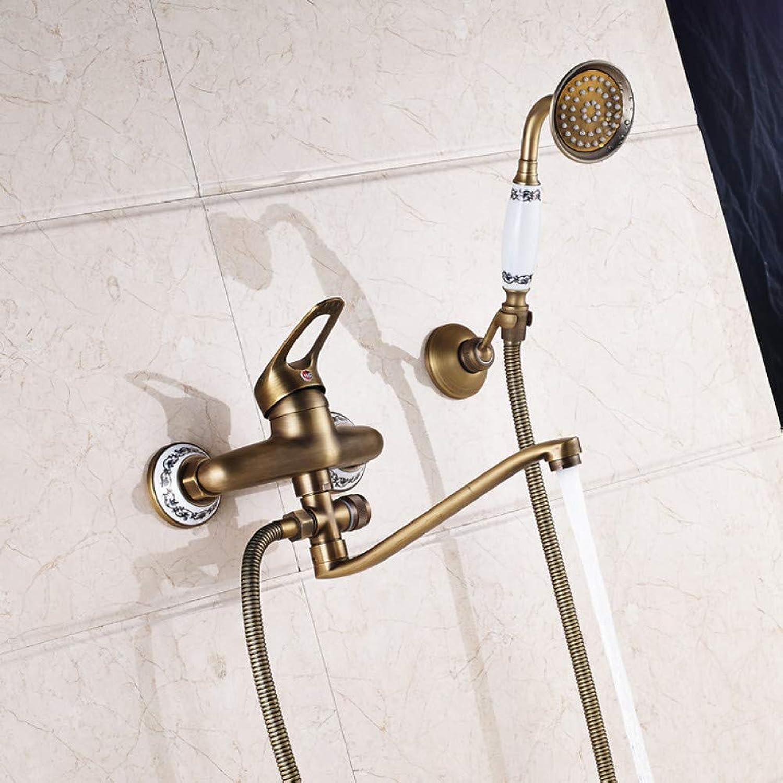 HUASAA Antike Messing 25cm Auslass Rohr Bad Dusche Wasserhahn Wandmontage Lnger Nase Badewanne Mischer mit Handbrause
