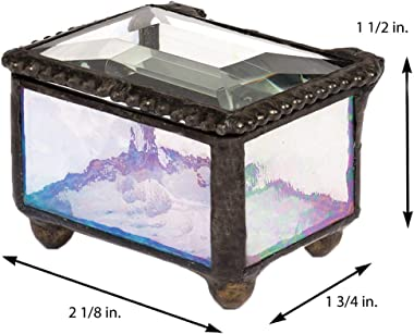 Ring Box Small Glass Jewelry Wedding Engagement Ring Dish Display Keepsake Trinket Case Gift Clear Iridescent Stained Glass J