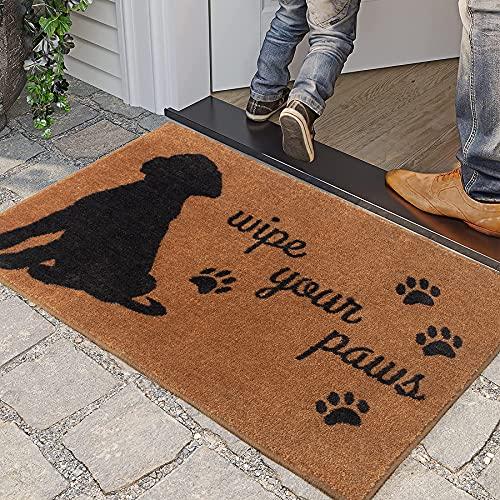 Indoor Door Mat Funny Doormat for Entrance Brown Wipe Your Paws Dog Decor Welcome Mats for Front Door Shoe Mat Cabin Decor Floor Mat Non-Slip Rug