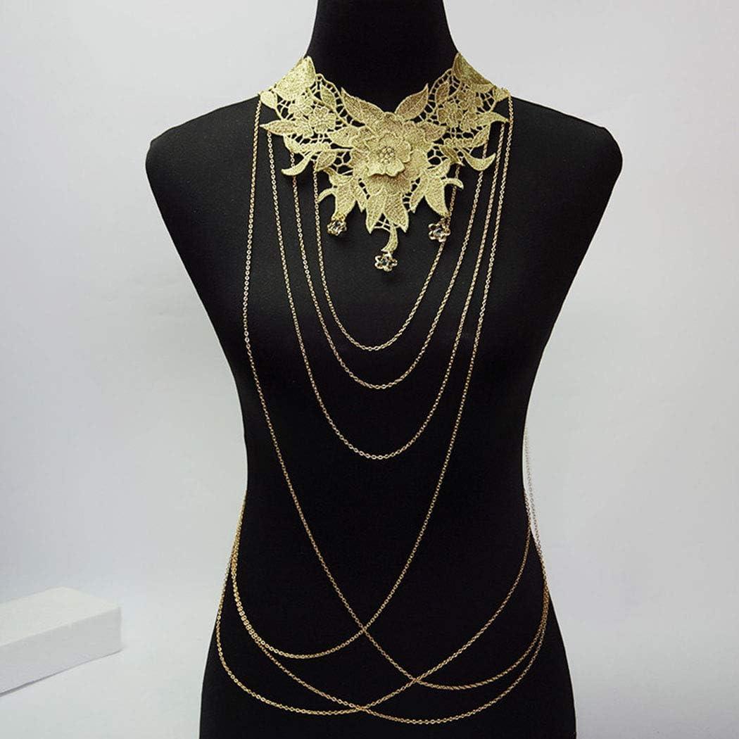 Yovic Boho Gold Body Chains Sexy Layer Bar Chain Louisville-Jefferson County Mall Crystal free Chorker