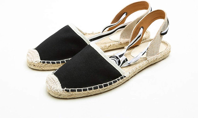 Summer Canvas Women Espadrilles Ankle Strap Platform Sandals Stripe Lace up Women