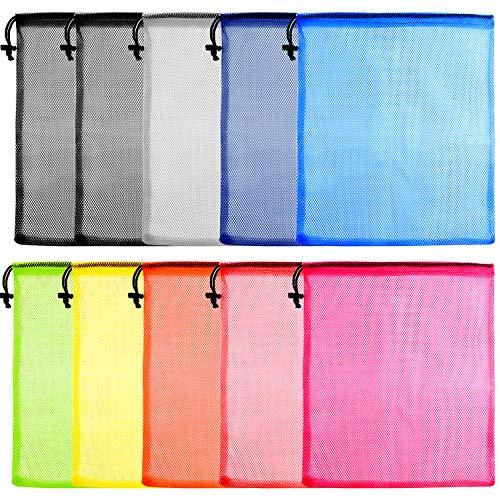 FEPITO 10 Pcs Mesh Drawstring Bag, Wäschesack, Mesh-Packsack, Golfball-Tasche, Nylon-Mesh-Tasche für Lagerung, Reise-und SportsPackage