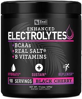 Enhanced Electrolyte Powder (Black Cherry  90ct.) Sugar Free + BCAA, B-Vitamins & Real Salt® - Keto Electrolytes Drinks, H...