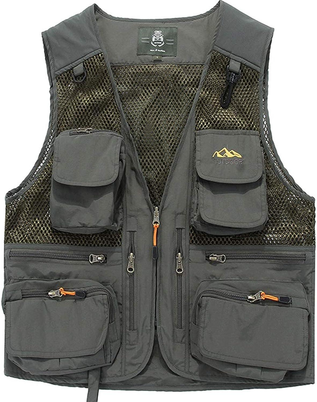 Pocket Vest Men's Thin Section MultiPocket Spring Summer mesh Fishing Photography Vest QuickDrying Outdoor Vest (color   Green, Size   M)