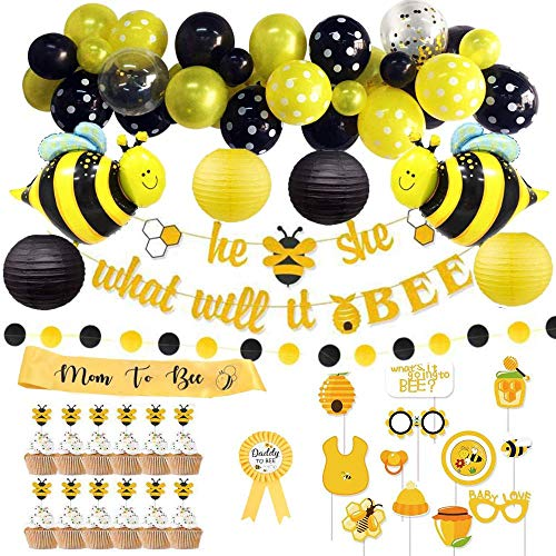 Bee Baby Shower Decorations (69 Pieces) | Gender Reveal Party Supplies | Bumble Bee Decor Set with Balloon Garland Kit | What Will It Bee Banner | Photo Props | Cup Cake Toppers | Mom to Bee Sash | Dad to Bee Batch | Bee Shape Foil Balloons | Paper Lanterns