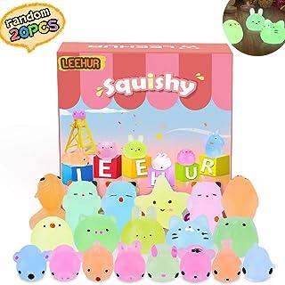 LEEHUR 20 Pcs Squishy Toys Kawaii Squishy Jouet, Anti Stress Squishies, Mixed Mini Soft Squeeze Brillent Lot Mochi Squishy...