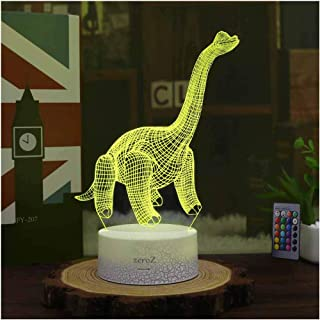 Night Light 3D lamp 7 Colors Changing Nightlight with Smart Touch & Remote Control 3D Night Light for Kids Room Decor or Perfect Gift for Kids Bedroom Theme Decor (Dinosaur Brontosaurus)