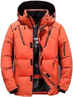 Macondoo Men Casual Thicken Hooded Warm Zip-Up Down Jackets Overcoat