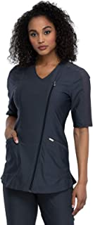 Cherokee Form Women Scrubs Top Asymmetrical Zip Front Tunic CK842