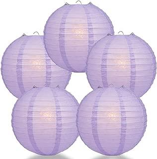 Quasimoon PaperLanternStore.com (5-Pack) 12 Inch Lavender Round Paper Lantern, Even Ribbing, Hanging Decoration