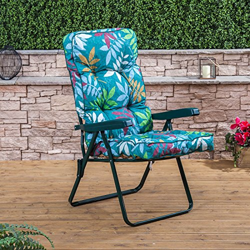 Recliner Chair - Green Frame with Classic Alexandra Green Leaf Cushion