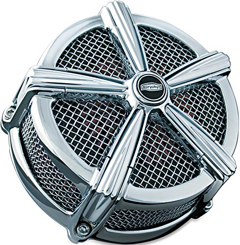 Kuryakyn 9451 Mach 2 Air Cleaner/Filter Assembly for Harley-Davidson Motorcycles, Custom Applications, Chrome