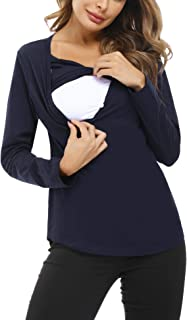 Hawiton Camisetas Lactancia Manga Larga Camiseta de Lactancia Ropa de Enfermería Algodon Camisa de Maternidad Premamá